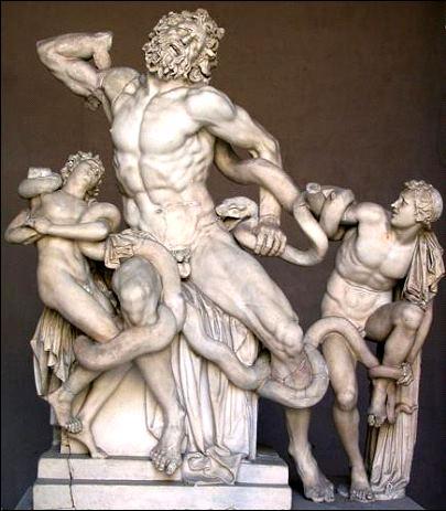 """""""Laocoonte y sus hijos"""", por Agesandro, Polidoro y Atenodoro de Rodas."""